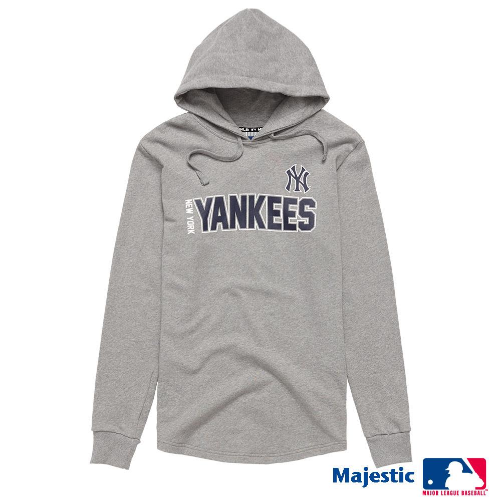 MLB-洋基隊簡約印花下擺圓弧帽T (男) - 灰色