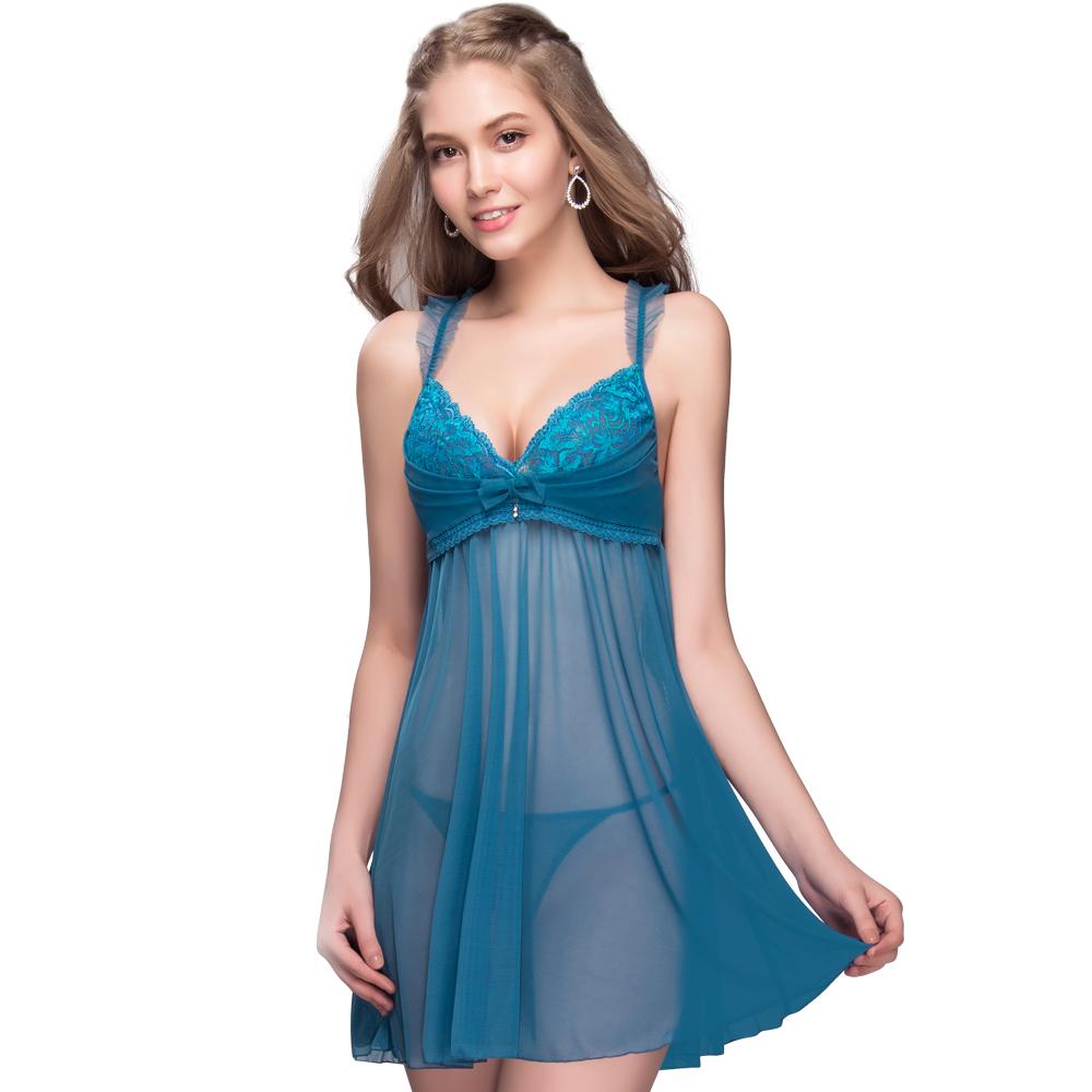 思薇爾 撩波葉之舞系列連身蕾絲性感小夜衣(窿島藍)