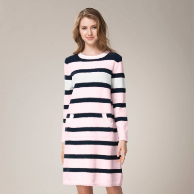 羅絲美 - 草莓牛奶橫條針織洋裝家居服