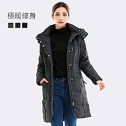 101原創 極暖率性長版連帽羽絨外套-女-鐵灰_0