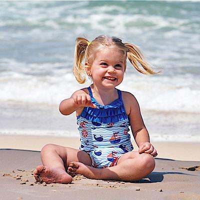澳洲 RASHOODZ 兒童抗UV防曬一件式連身泳裝 (小鯨魚與小船)