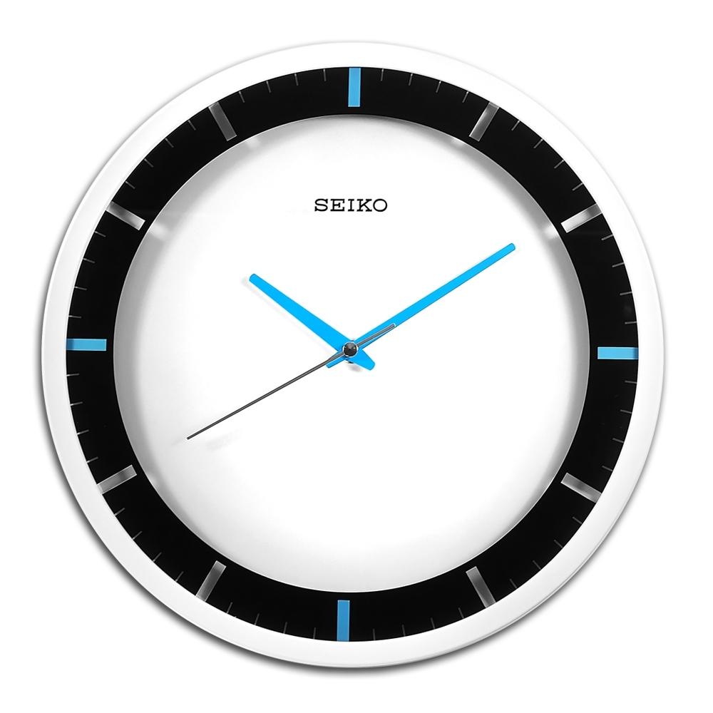SEIKO 精工 / 跳色時尚 極簡風 滑動式秒針 餐廳客廳臥室 靜音掛鐘-白藍色/QXA769W
