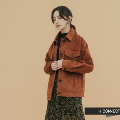 【周慶限量款】H:CONNECT 韓國品牌 女裝-雙口袋排扣麂皮外套-棕