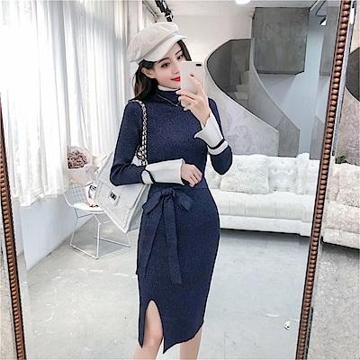 DABI 韓國風氣質高領亮絲開叉百搭針織長袖洋裝