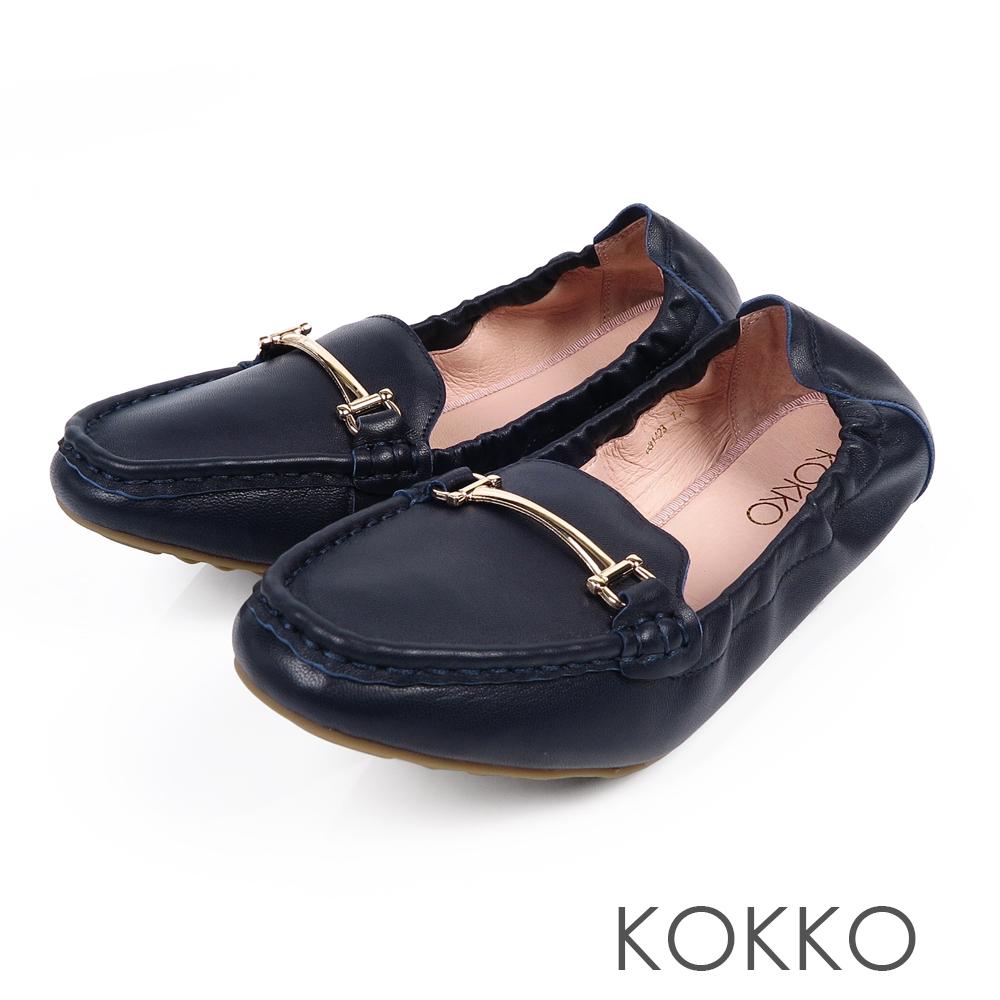 KOKKO -笑眼彎彎柔軟羊皮莫卡辛便鞋-深邃藍