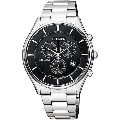 CITIZEN 星辰GENTS 時尚三眼藍寶石玻璃男錶-黑(AT2360-59E)