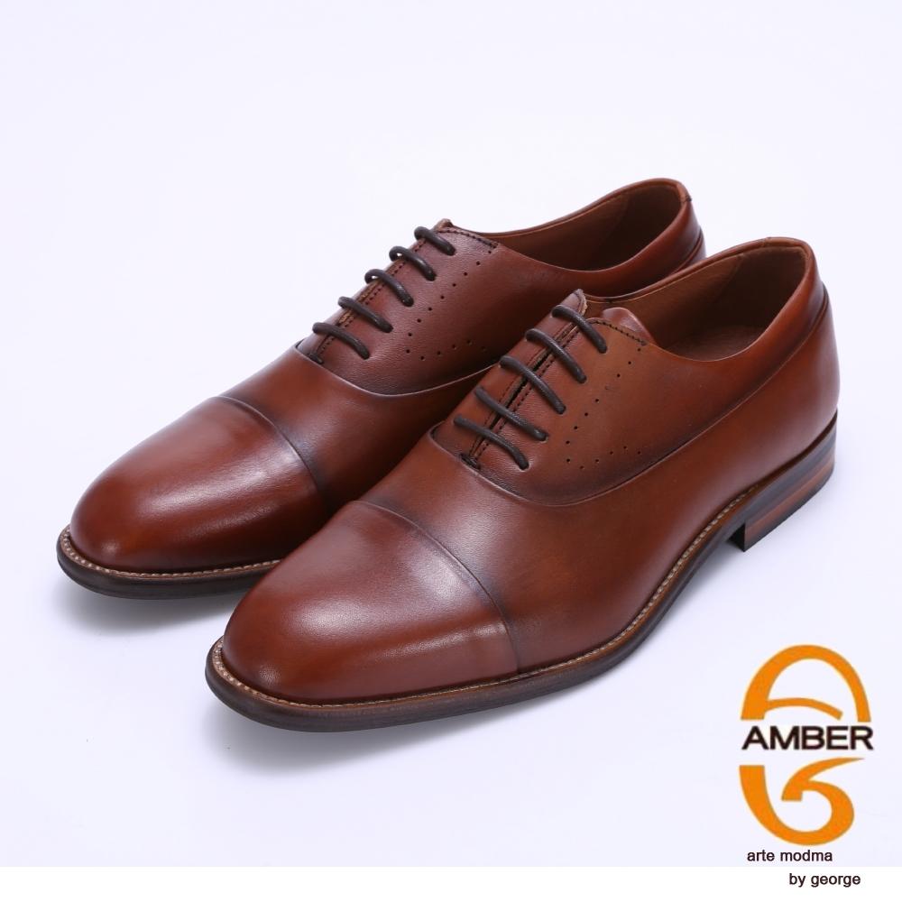 Amber 經典素面手工擦色紳士皮鞋-棕色