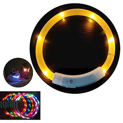 摩達客 LED寵物發光項圈(USB充電式 / 圓周35CM長/黃色燈條款)
