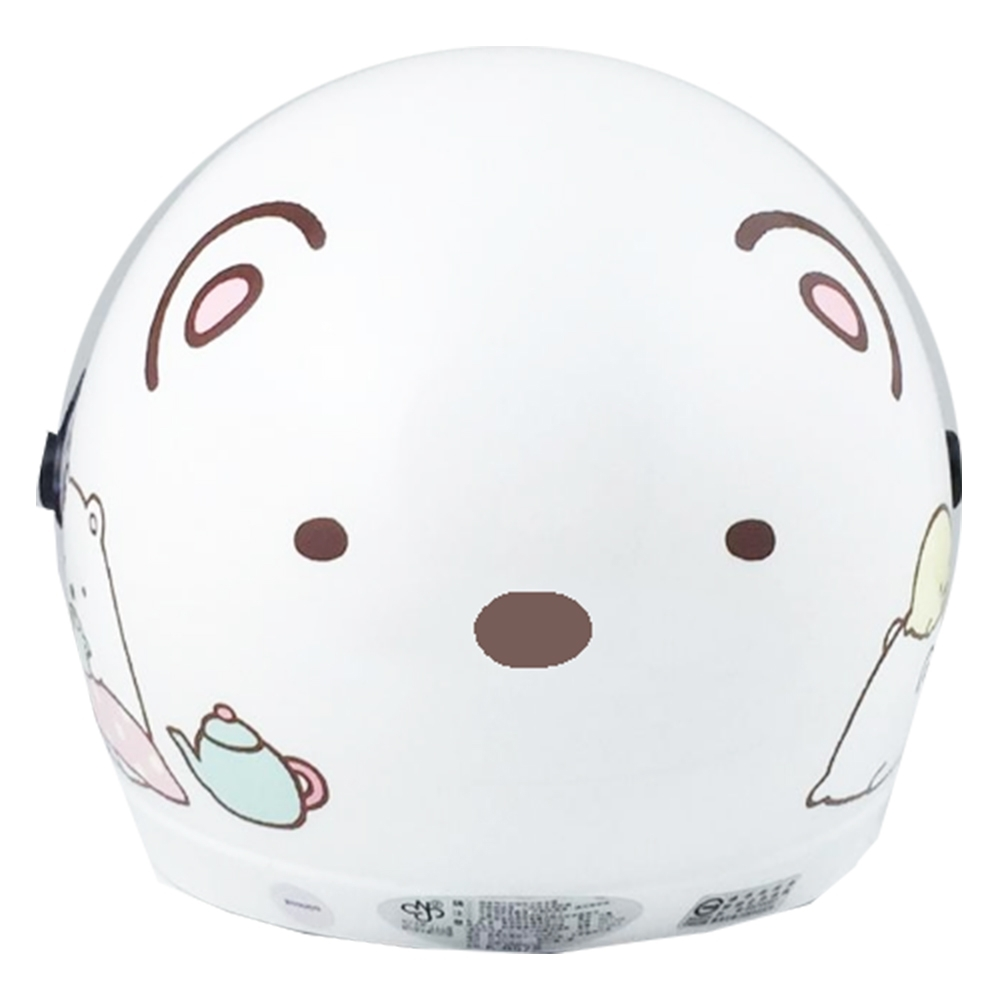 角落生物角落小夥伴4/3罩安全帽 北極熊 白色款 (小帽圍 54~57cm)