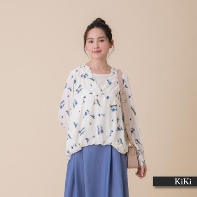 【KiKi】兩件式浪漫碎花-襯衫(黑色/版型適中)