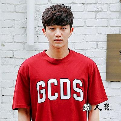 男人幫 T1529韓國英文字母印花短袖純棉T恤