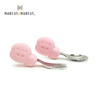 【MARCUS&MARCUS】動物樂園寶寶手握訓練叉匙-粉紅豬(粉)