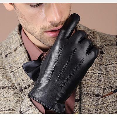 ego life小羊皮三縫線觸控男士保暖手套黑色 L/M款可選