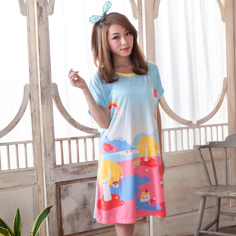 睡衣 牛奶絲質短袖連身睡衣(C01-100570夢幻甜點王國) Young Curves
