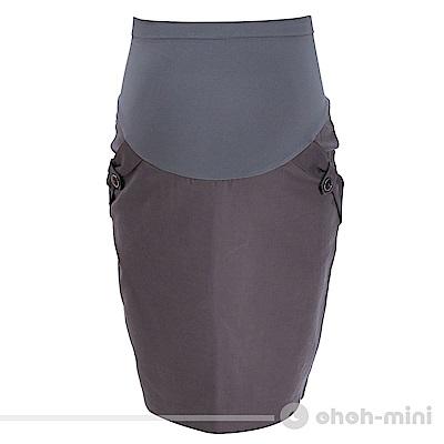 【ohoh-mini 孕婦裝】極簡OL百搭開衩孕婦裙