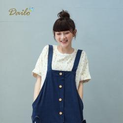 【Dailo】大小圓點袖口反折休閒棉T-上衣(四色)