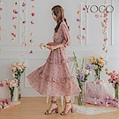 東京著衣-YOCO 歐膩最愛胸綁帶荷葉層次長洋裝-S.M.L(共兩色)