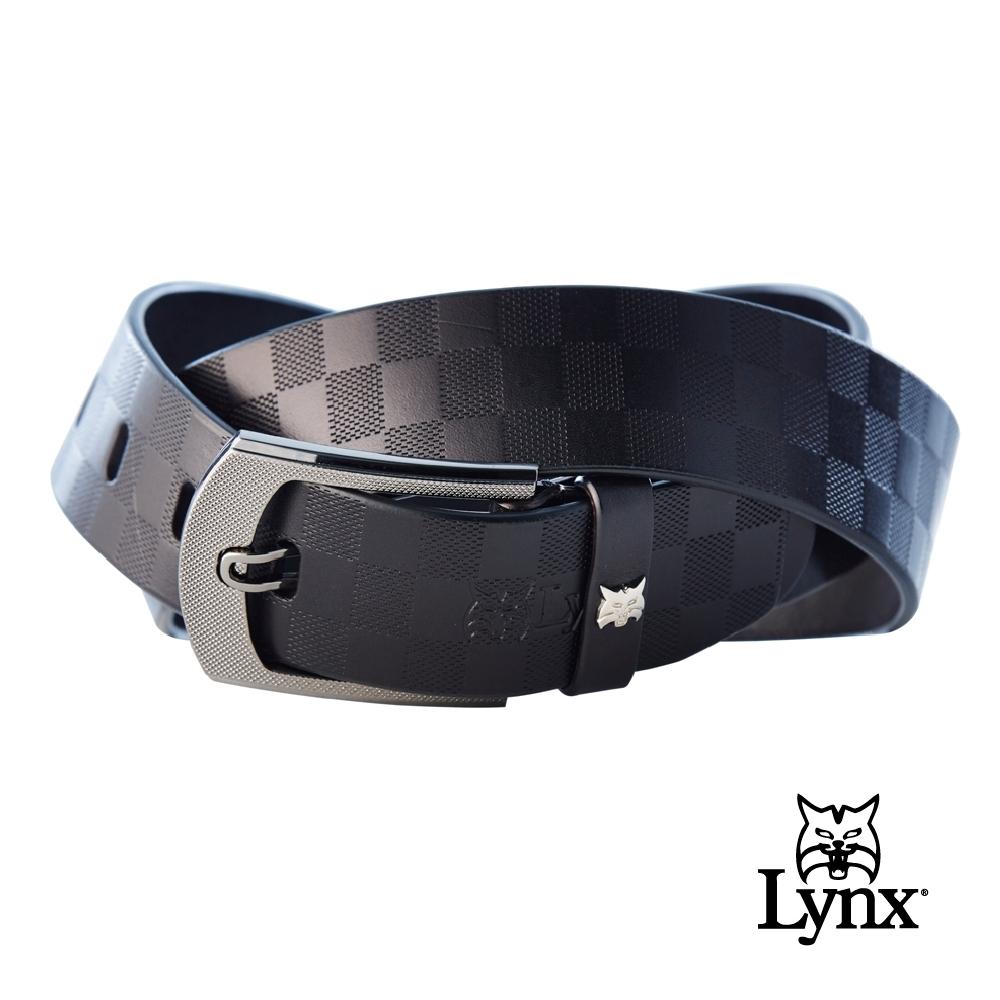 【Lynx Golf】男款經典格紋牛皮小山貓環扣紳士皮帶-黑色