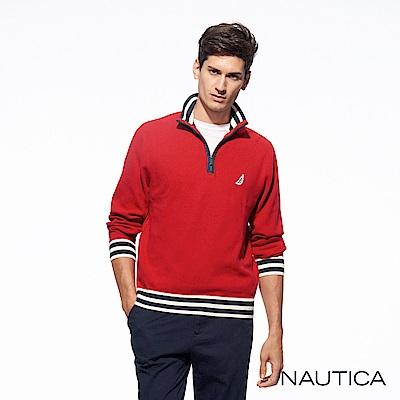 Nautica經典素色針織長袖毛衣-亮紅