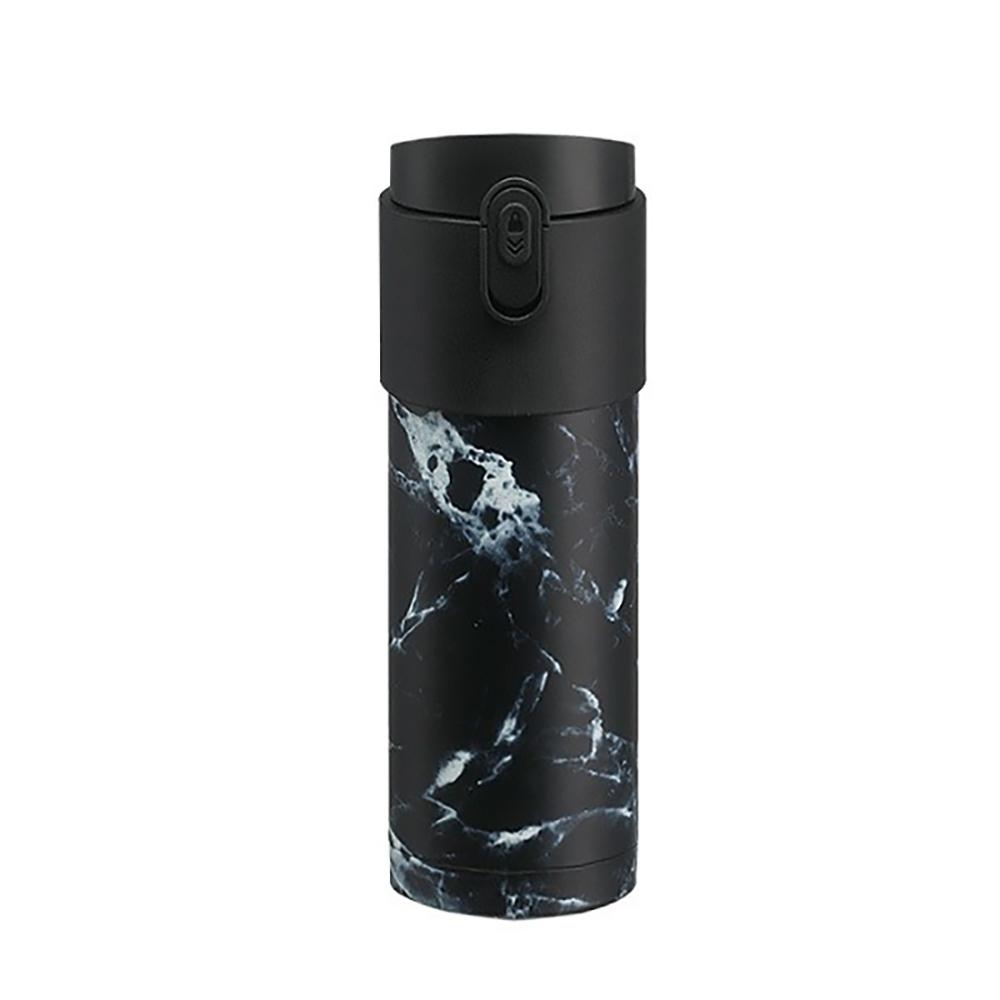 【PO:Selected】丹麥掀蓋12oz保溫泡茶杯 (大理石紋-黑)