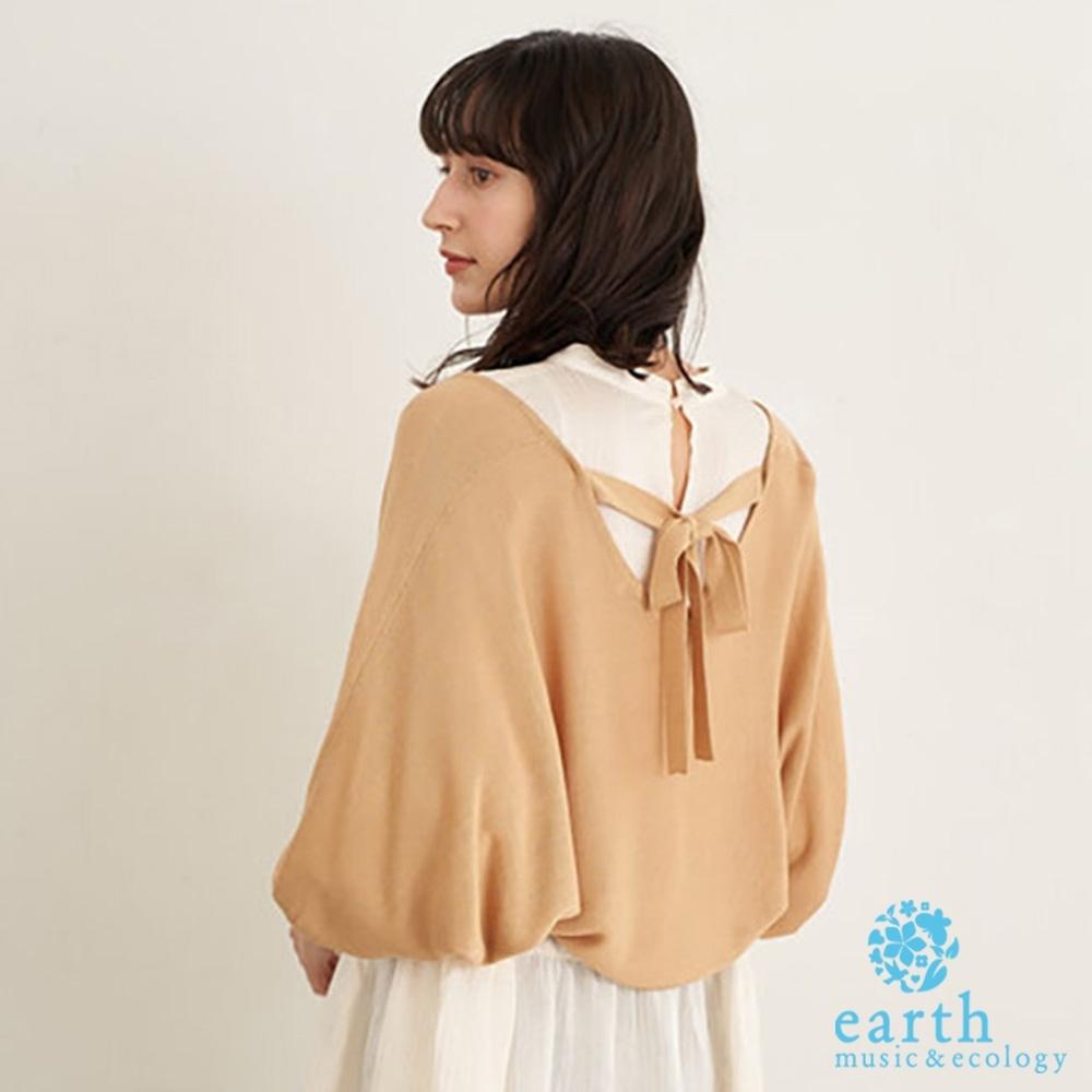 earth music 後綁結蓬袖短版開襟罩衫