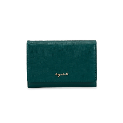 agnes b. Voyage壓紋皮革金屬logo釦式卡片夾 (綠)