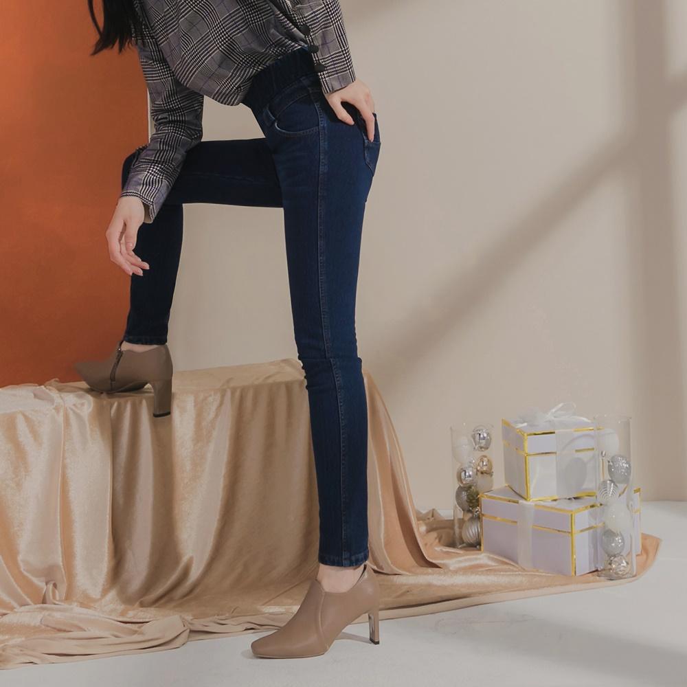 高含棉鬆緊高腰刷色內磨毛彈性窄管牛仔褲-OB嚴選