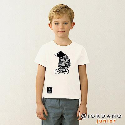 GIORDANO 童裝BOB迷彩小熊印花T恤-01 標誌白
