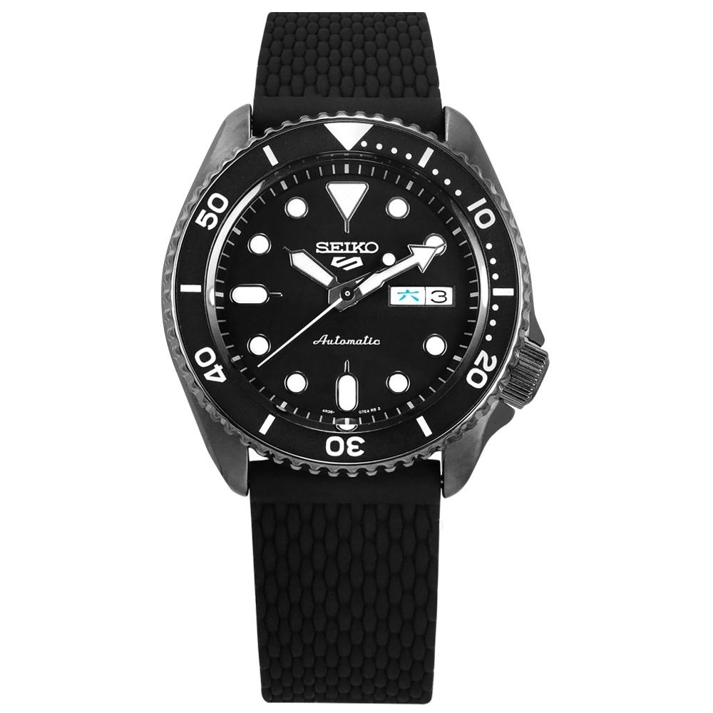 SEIKO 精工 5 Sports 機械錶 自動上鍊 編織壓紋矽膠手錶 黑色 41mm
