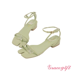 Grace gift-分趾細帶繫踝低跟涼鞋 綠