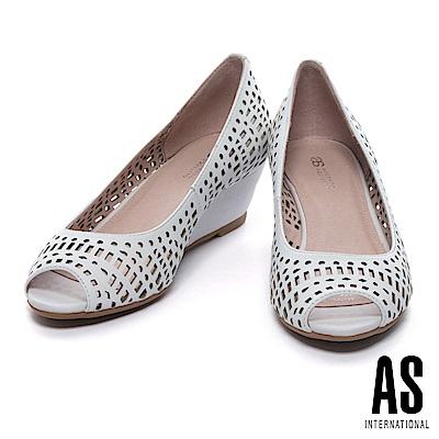 高跟鞋 AS 清新俐落沖孔造型羊皮魚口楔型高跟鞋-白