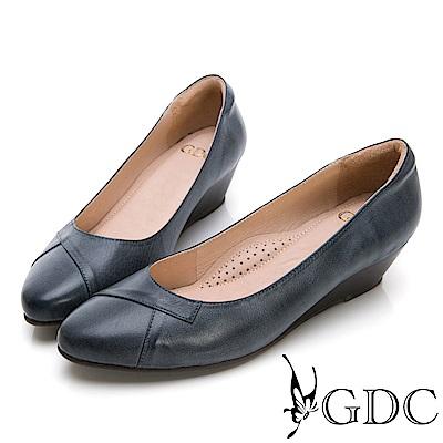 GDC-真皮圓頭基本上班素色楔型跟鞋-藍色