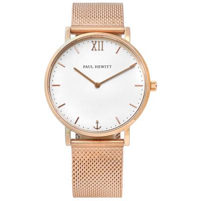 PAUL HEWITT 德國 藍寶石水晶 編織不鏽鋼手錶 銀白x鍍玫瑰金 36mm
