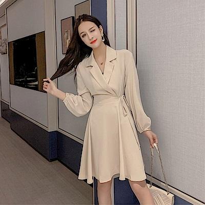 DABI 韓系名媛優雅風衣收腰長版氣質顯瘦長袖洋裝