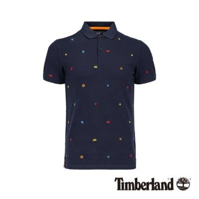 Timberland 男款深寶石藍色刺繡短袖POLO衫 A1YGZ