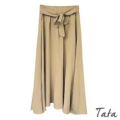 鬆緊腰綁帶棉麻長裙 共二色 TATA