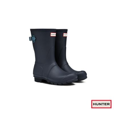HUNTER - 女鞋-可調整扣帶霧面短靴 - 海軍藍
