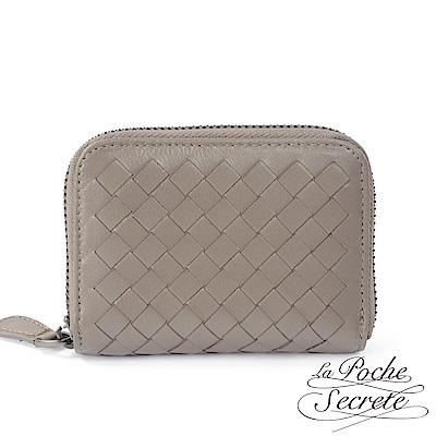 La Poche Secrete 編織小羊皮拉鍊卡夾包-自信灰