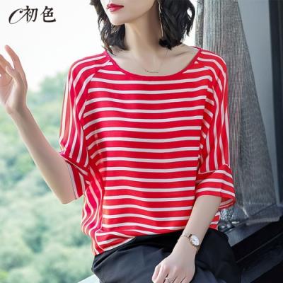 初色  簡約條紋雪紡衫-共2色-(M-XL可選)