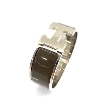 HERMES Clic H LOGO琺瑯中版手環(PM-咖啡X銀)