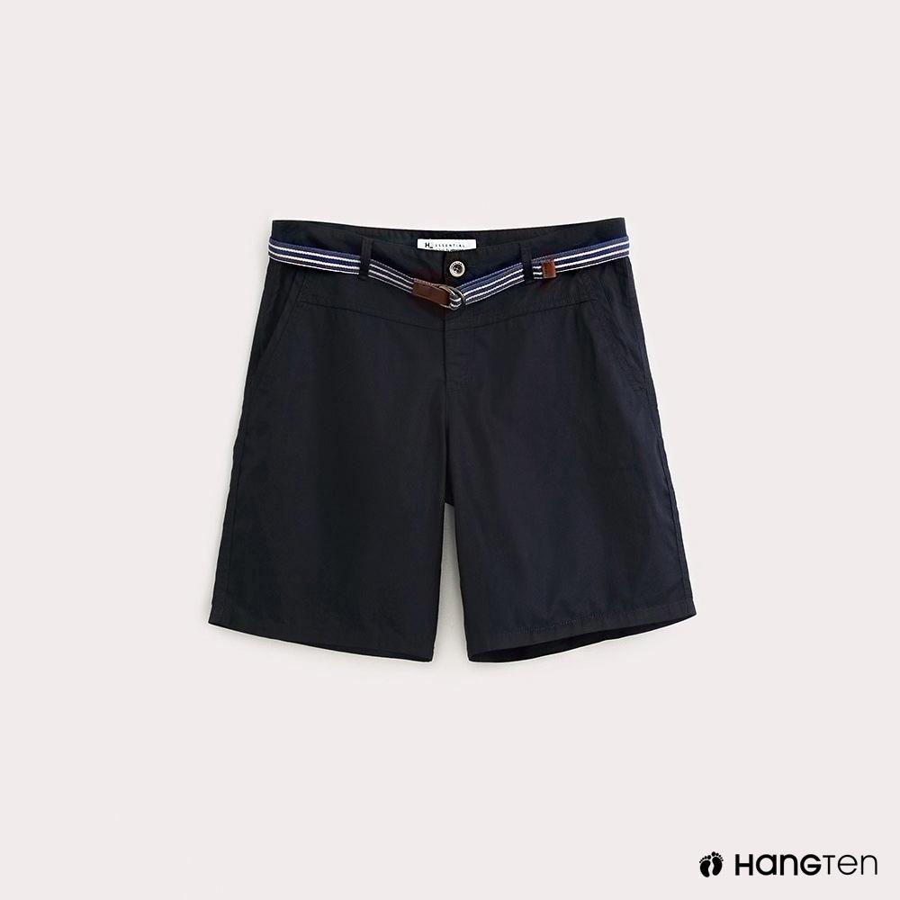 Hang Ten-女裝-條紋腰帶休閒短褲-藍
