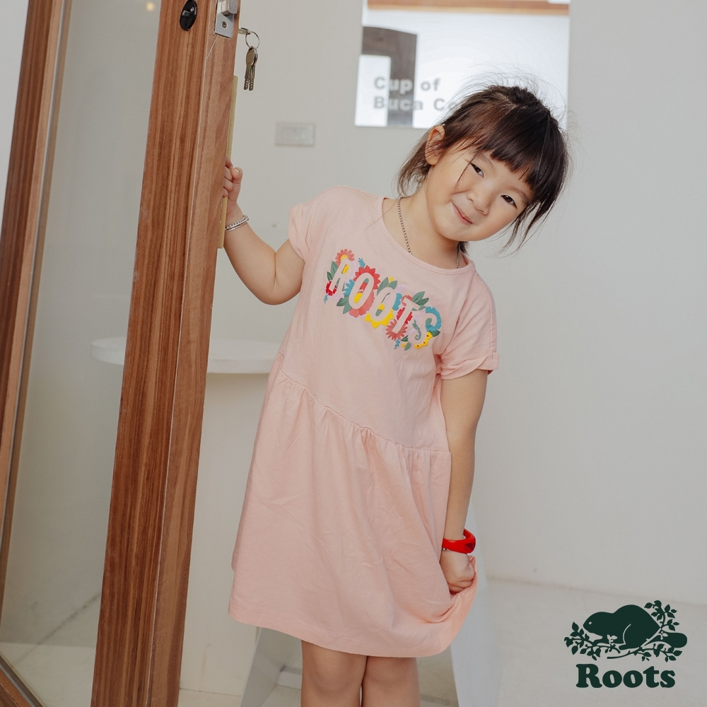 Roots大女童-漾彩花卉系列 LOGO洋裝-粉色