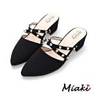Miaki-高跟鞋首爾時尚鉚釘尖頭包鞋-黑