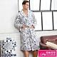 睡袍 極暖水貂絨男性睡袍(R80228-6灰藍格紋)蕾妮塔塔 product thumbnail 1
