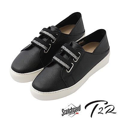 【T2R】真皮手工免綁帶休閒懶人鞋-黑