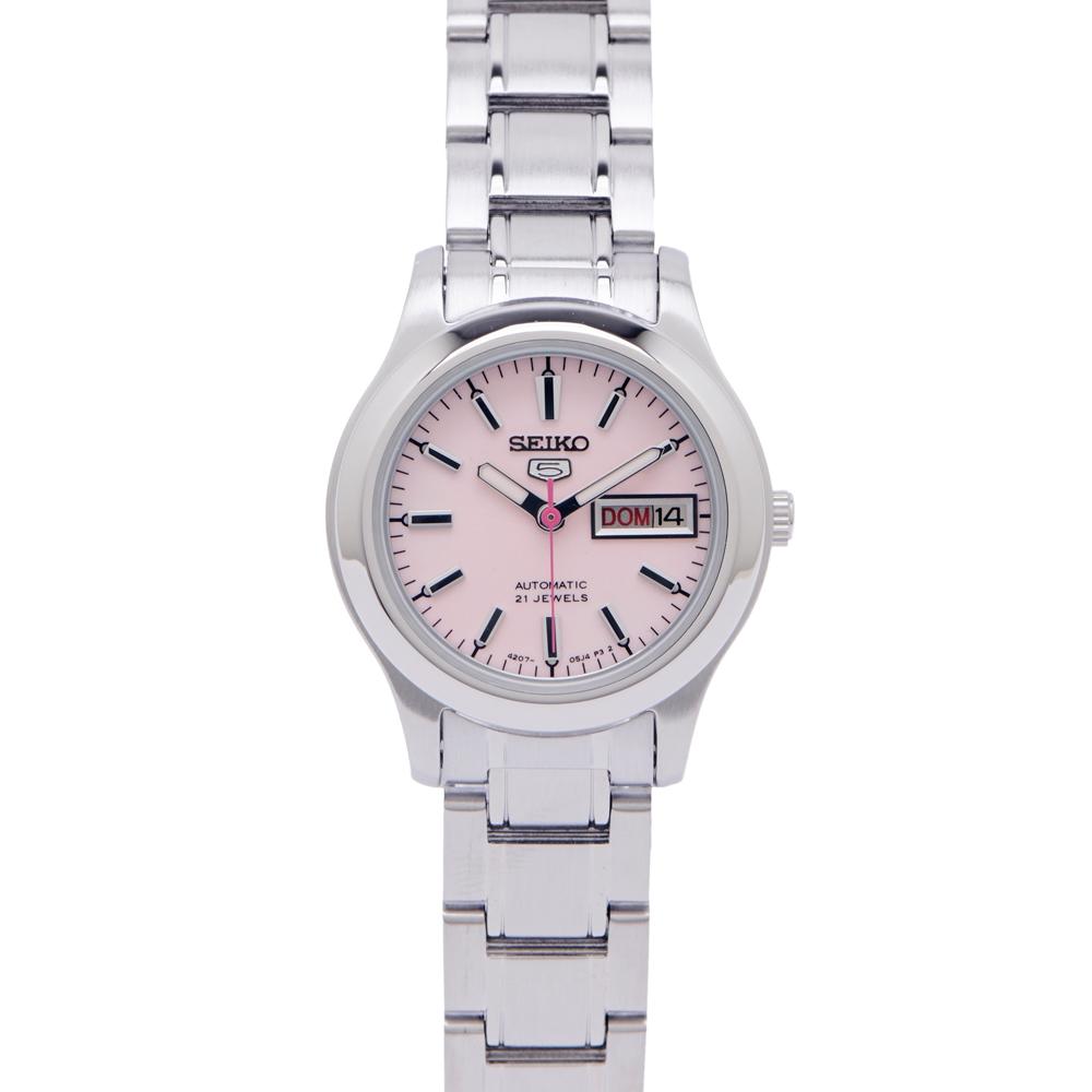 SEIKO  經典款不鏽鋼錶帶女性機械錶手錶(SYMD91K1)-粉色面X銀色/24mm