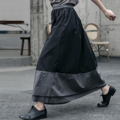 設計所在Style-暗黑風做舊臟洗層次拼色長裙