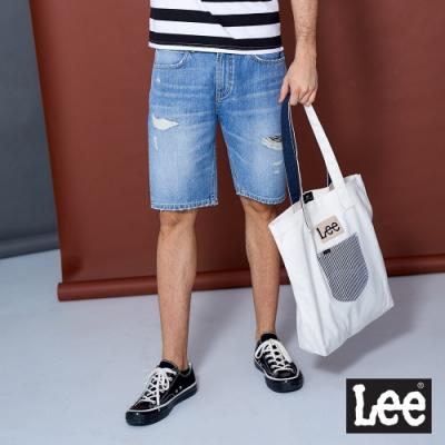 Lee 牛仔短褲 902 破壞寬鬆 男款 淺藍刷色
