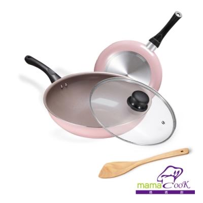 【義大利Mama Cook】綻粉陶瓷不沾鍋具4件組(炒鍋30cm+平底鍋24cm+鍋蓋+木鏟)