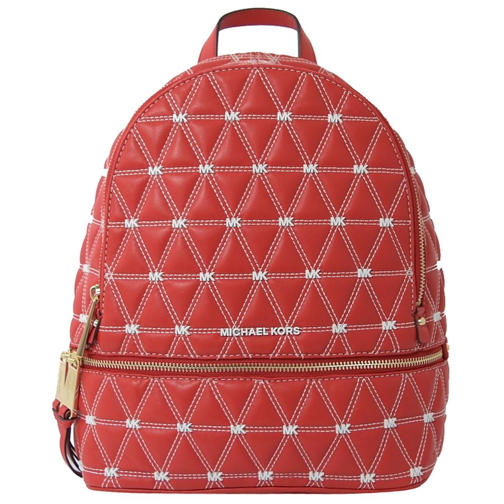 MICHAEL KORS Rhea zip菱格紋車線雙層拉鍊後背包(紅)